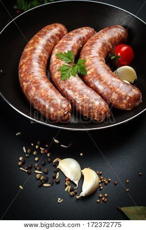 Close View Of Pork Sausages In Frying Pan