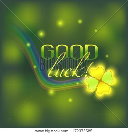 vector card with good luck wish rainbow and clover