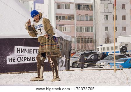 New Urengoy, YaNAO, North of Russia. March 1, 2016. The holiday of north nationality. Nenets man and women