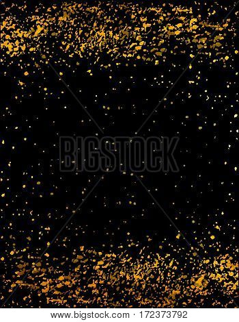 Gold glitter confetti for certificate, voucher, present, discount, invitation, vip, exclusive, luxury, gift card. Golden abstract explosion. Vector splashes on a black background.