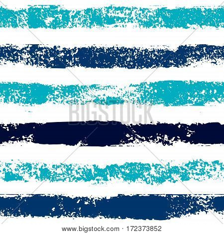 Blue hand painted stripes grunge seamless pattern on white, vector background