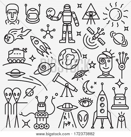 space -set thin line icons , design elements