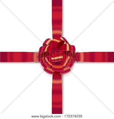 vector red isolated realistic bow with ribbons