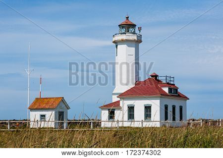 Point Wilson Lighthouse located in Fort Worden State Park near Port Townsend, Jefferson County, Washington