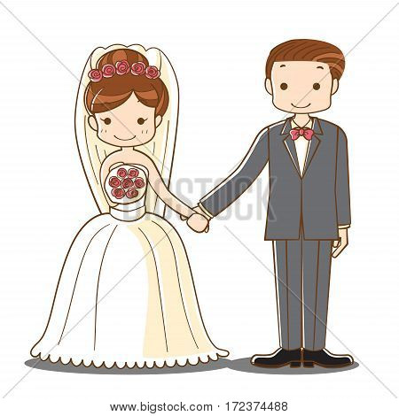 wedding couple cartoon, cute bride and groom newlyweds holding hand character, vector illustration