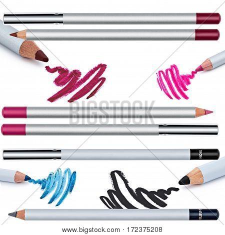 set of eyeliner, eye contour, collage, isolated on white background