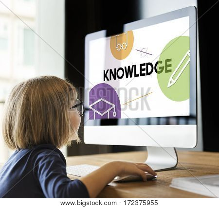 E-learning distance education icons interface