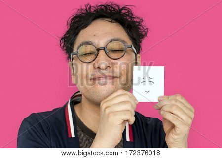 Man Post It Smile Face Expression