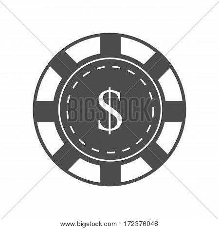 Gambling chip vector in monochrome. Black casino chip with dollar sign. Illustration for gambling industry, sport lottery services, icons, web pages, logo design. Isolated on white background.