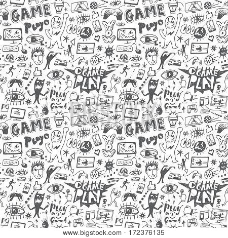 computer games seamless pattern with icons in sketch style