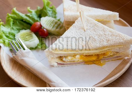 Slice Ham Cheese Egg Sandwich Breakfast With Fresh Vegetable
