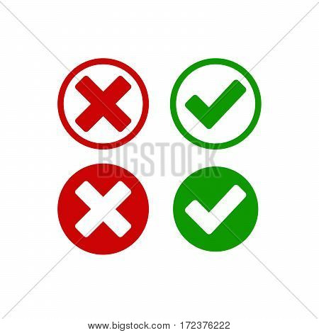 Check mark buttons. Red cross and green tick. Vector illustration. normal hover active button