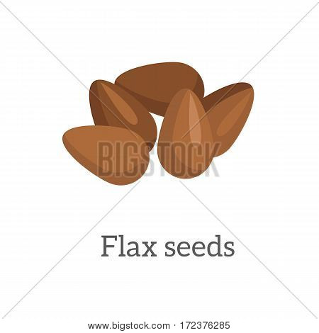 Illustration of Flax Seeds. Ripe flax seed in flat. Brown flaxseeds. Several flax seeds. Healthy vegetarian food. Isolated vector illustration on white background.