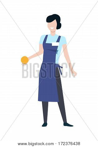 Shop assistant or seller character vector template. Flat design. Smiling woman in blue apron with orange fruit in hand standing on white background. Grocery shop, supermarket, mall personnel.