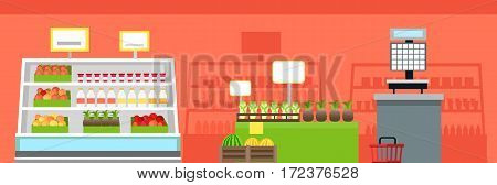 Grocery shop interior concept vector. Flat design. Showcase, shelves and boxes with fruits, vegetables, milk products, check printing scales. Trade equipment and merchandising work Illustrating.