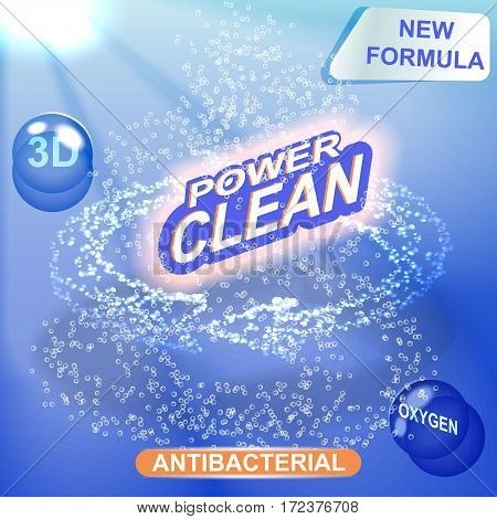Washing powder packaging vector design template. Soap washing powder design, clean label, underwater, clean, fresh concept detergent. The arrow from the air bubbles. poster