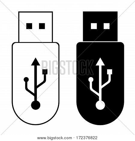 Flash Drive template Memory outline icon and Black design on white background.