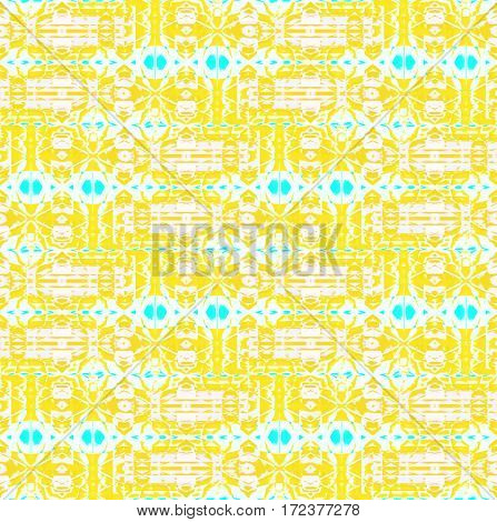 Abstract geometric seamless background. Regular intricate pattern yellow white with turquoise elements horizontally.
