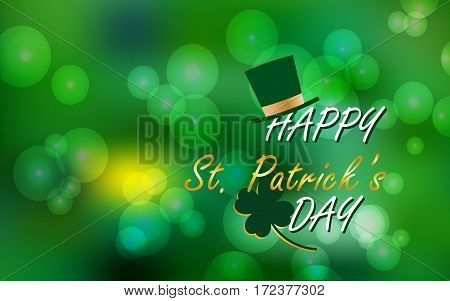 Vector Illustration of Happy St. Patrick's Day, Spring Blur Bokeh Background for banner, card, flyer template.