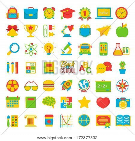 Set of back to school and education colot flat icons school supplies isolated on white background. Back To School Background. Back to school super shopping. Super sale. Vector illustration.