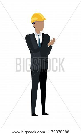 Successful architect standing and clapping hands. Man in black suit and yellow helmet. Building manager. Investor in expensive cloth and classical shirt. Cartoon style in flat design. Vector