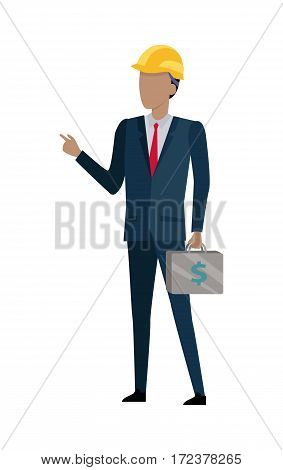 Successful architect is standing and holding a bag of money in his hands. Man in black suit and yellow helmet. Red tie. Case with dollars. Cartoon style. Chef investor businessman. Flat design. Vector