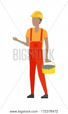 Worker holding yellow bucket of cement in hand isolated on white. Bended right hand. Man in red robe and yellow helmet, t-shirt. Cartoon style. Builder constructor. Housebuilder. Flat design. Vector
