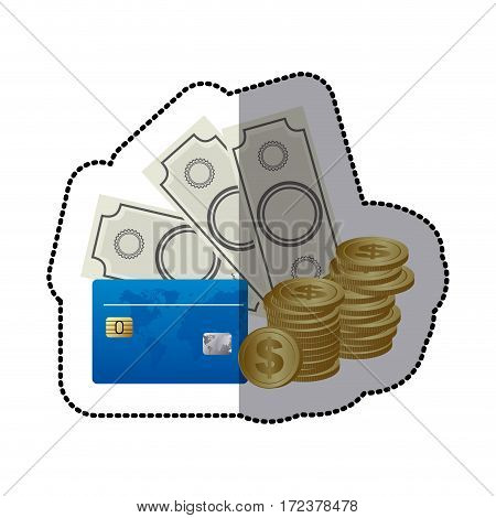 bills, coin and cash icon stock, vector illustration design