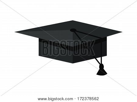 Black graduation cap. Mortar board. Education symbol. Graduation cap symbol. Graduation cap icon. Academic cap. Isolated object in flat design on white background. Vector illustration.