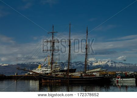 Boats in the port of Husavik. Iceland