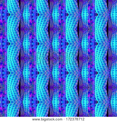 Abstract geometric seamless background. Regular waved triangles pattern, stripes in turquoise, azure blue, purple and violet shades vertically.