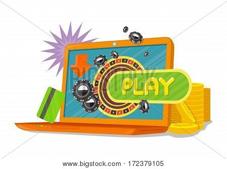Online games web banner with laptop casino roulette wheel isolated on white. Online play concept. Casino jackpot, luck game, chance and gamble, lucky fortune. Vector illustration in flat style