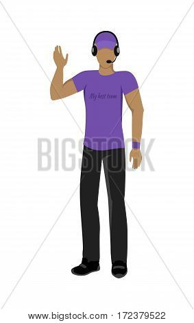Cartoon soccer referee in black and violet uniform and violet hat. Speaking into lip-ribbon microphone. Main referee. Judging the competition. Football match. Flat referee icon. Football logo. Vector