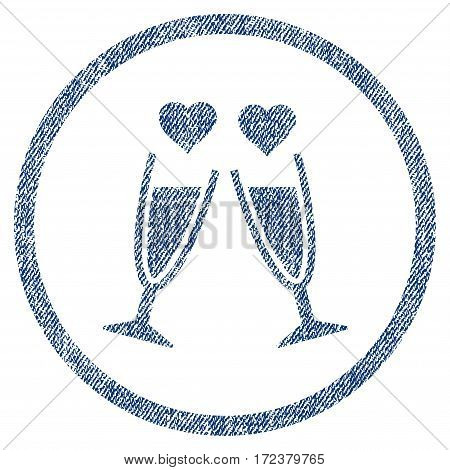 Clink Glasses textured icon for overlay watermark stamps. Blue jeans fabric vectorized texture. Rounded flat vector symbol with dust design.