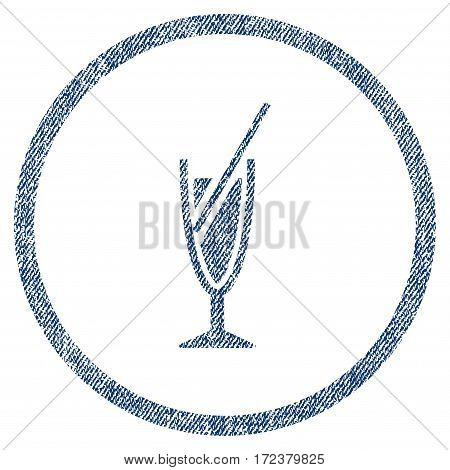 Cocktail textured icon for overlay watermark stamps. Blue jeans fabric vectorized texture. Rounded flat vector symbol with scratched design.