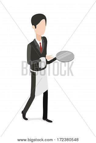 Restaurant. Full length picture of isolated waiter walking with an empty steel tray in one hand and white towel in another. Hasher wearing black classical suit with red tie and white apron. Vector