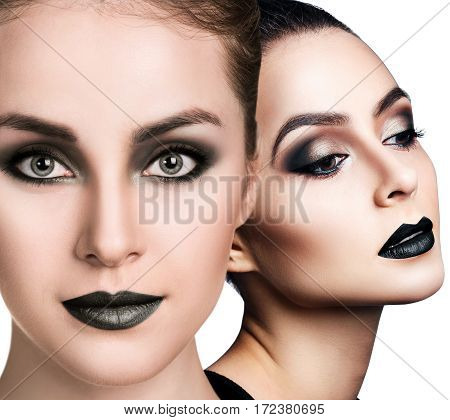 Collage of beautiful woman's faces with smoky eyes over white background