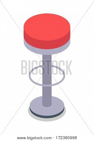 Bar stool in red color isolated on white. Flat design. Simple round chair with pedestal. Traditional furniture for clinic, bar, hairdresser, shop, office. High chair. White background. Vector