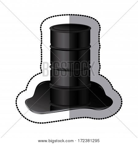 petroleum of barrel with spilled oil icon image, vector illustration design