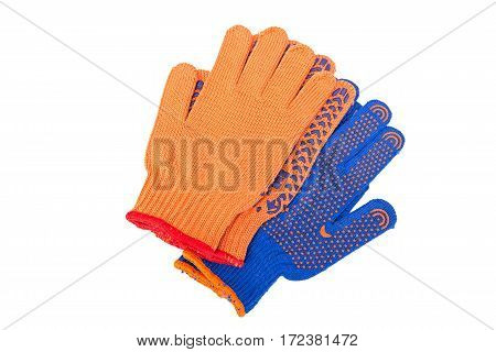 new Work Gloves Isolated On White. orange and blue colors