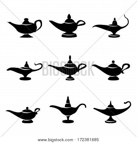 Aladdin lamp Vector. Set Icons Aladdins lamp Signs. Illustration Wish And Mystery Souvenir