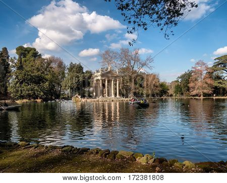 emple of Aesculapius in Villa Borghese Gardens Rome Italy
