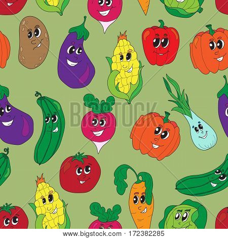 Vector funny vegetables seamless pattern. Vegetables seamless background.Health food