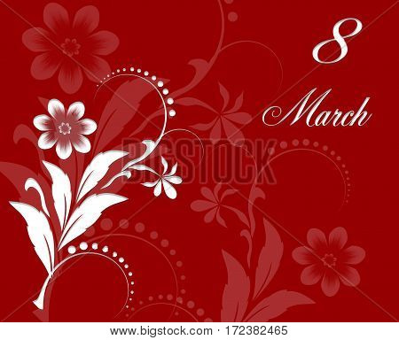 Red Floral Greeting card - International Happy Women's Day - 8 March holiday background with white paper cut Flowers. Trendy Design Template. Raster Illustration