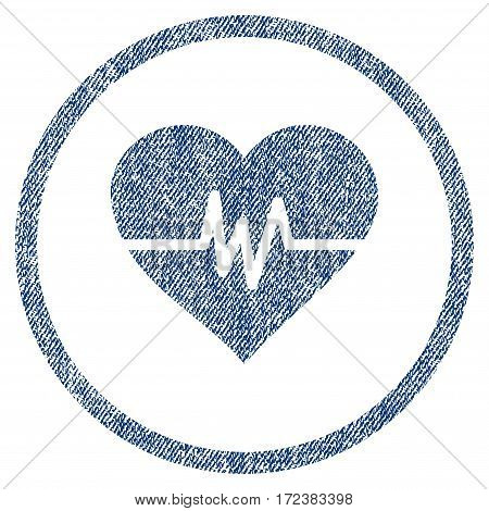 Heart Pulse textured icon for overlay watermark stamps. Blue jeans fabric vectorized texture. Rounded flat vector symbol with dirty design.