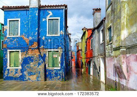 Abandoned houses on Island Burano nearby Vencie, Italy