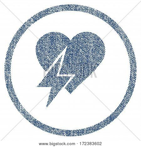 Heart Shock textured icon for overlay watermark stamps. Blue jeans fabric vectorized texture. Rounded flat vector symbol with dirty design.