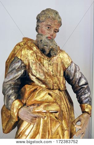 ZAGREB, CROATIA - FEBRUARY 17: St. Joachim, the second half of the 18th century, exhibited in the Museum of Arts and Crafts in Zagreb, on February 17, 2015.