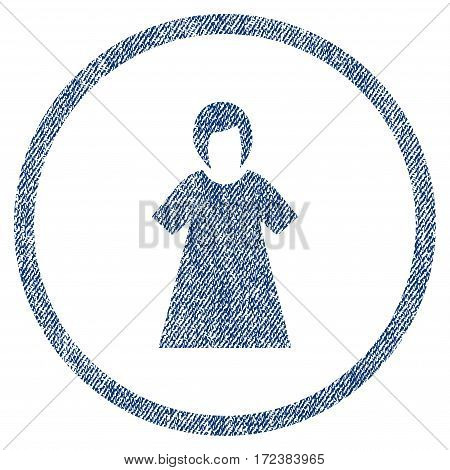 Lady Figure textured icon for overlay watermark stamps. Blue jeans fabric vectorized texture. Rounded flat vector symbol with dust design.