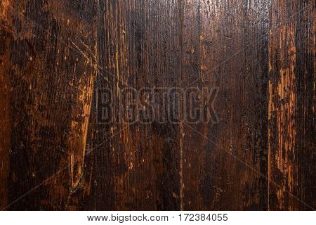 Vintage wooden dark brown background with space for text